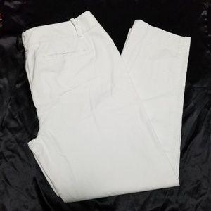Talbots Hampshire White Textured Slim Ankle Pants
